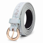Genuine Leather Thin Belt Embossed Leaves Pattern Round Pin Buckle