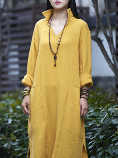 Vintage Women Long Sleeve Stand Collar Long Blouse