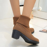 Knitting Match Two Way Wearing Ankle Chunky Heel Knight Boots