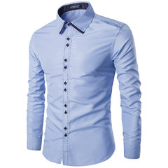 Mens Fashion Spell Color Slim Fit Turndown Collar Business Long Sleeve Casual Shirt
