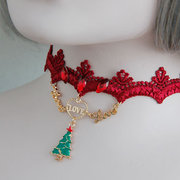 Christmas Necklace Christmas Tree Love Red Rhinestone Collar Necklace