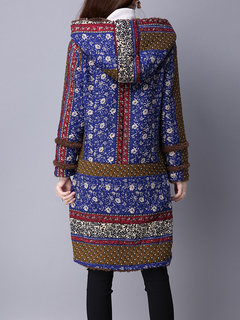 Gracila Women Ethnic Floral Printed Long Sleeve Hooded Winter Thicken Coat