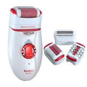 KEMEI 3 in 1 Rechargeable Washable Lady Shaver Epilator Callus Hair Remover Depilator
