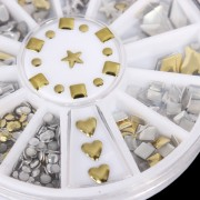 6 Styles Gold Metal Punk Style Nail Art Decoration Wheel Different Shape