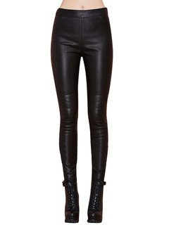 Punk Women Tight Skinny Black Faux Leather Legging