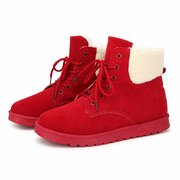 Fur Keep Warm Lace Up Flat Ankle Comfortable Boots