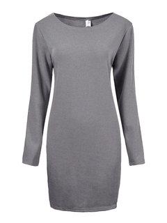 Повседневный Плюс Размер Теплые Твердые O-образным вырезом с длинным рукавом платье