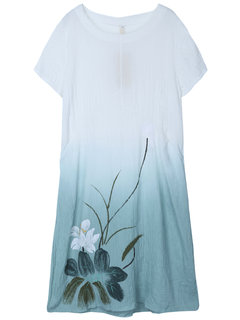 Gradient Printed Vintage Loose Hanging Women Dress