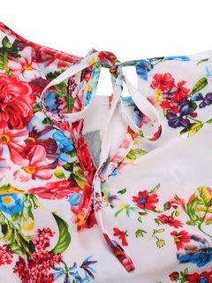Фольк Цветочные Печатный Кружева Лоскутная высокой талией платье женщин