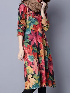 Printed Loose Long Sleeve Women Vintage Cotton Dress