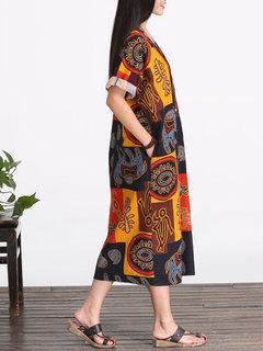 O-Newe Folk Style Printed V-Neck Straight Dress For Women