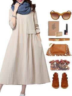 Gracila Women Loose Long Sleeve Pleated Pure Color Long Maxi Dress
