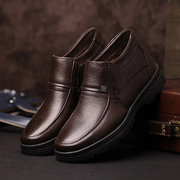 Men Leather Keep Warm Flat Slip On Formal Business Shoes