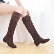 Thigh Over The Knee Pure Color Black Brown Flat Low Heel Boots