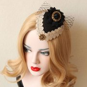 British Style Hairwear Vintage Cosplay Bow Knot Lace Rose Hairpin Jewelry