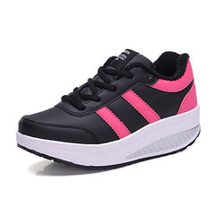 Color Matching Lace Up Warm Casual Shake Shoes