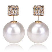 Double Side Square Pearl Crystal Earrings