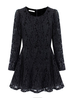 Plus Size Elegant Women Long Sleeve Lace Pleated Dress