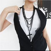 Black Multilayer Cross Pendant Necklace