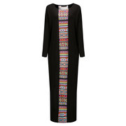 Elegant Geometric Patterns Printed Patchwork Batwing Sleeve Maxi Dress For Women