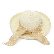 Women Ladies Summer Sun Beach Floppy Derby Hat Wide Large Brim Straw Bows Cap