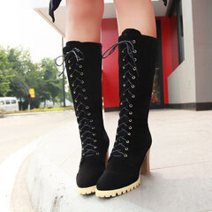 High Heel Lace Up Knee High European Style Boots
