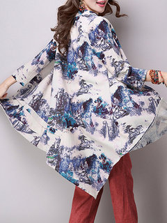 Women Chinese Style Ink Printed Asymmetric Hem Button Coat