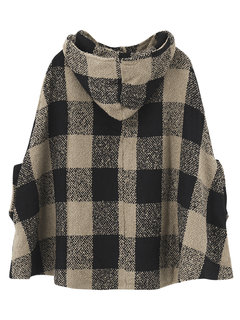 Casual Checked Batwing Hoodie Women Sweatshirt