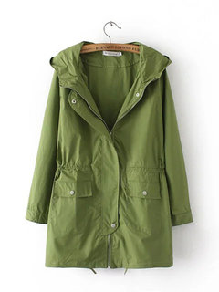 Casual Solid Hooded Long Sleeve Zipper Button Pocket Jacket For Women