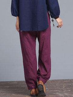 Casual Pure Color Elastic Waist Pocket Trouser For Women