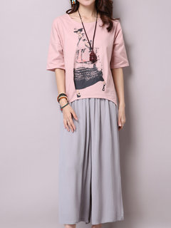 Loose Women Solid Drawstring Linen Wide Leg Pants