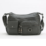 Women Casual PU Leather Crossbody Bag Multi-pocketed Large Shoulder Bag