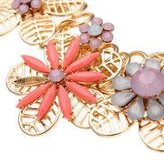 Смола Цветочный позолоченный Сеть Коренастый ожерелье