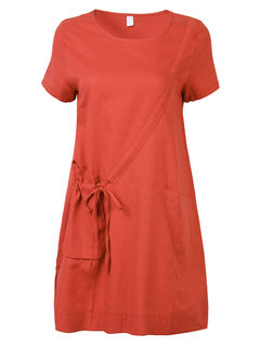 Chinese Style Pocket Pure Color Short Sleeve Mini Dress