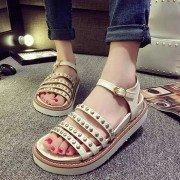 Metal Chain Stripe Peep Toe Buckle European Style Roman Flat Sandals