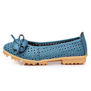 Flower Butterflykont Hollow Out Breathable Soft Sole Slip On Flat Loafers