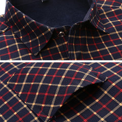 Casual Business Thicken Inside Fleece Keep Warm Plaid Long Sleeve Dress Shirts for Men