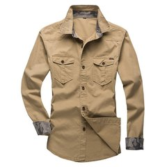 Big Size Casual Cotton Work Shirts Slim Fit Lapel Long Sleeve Shirts For Men