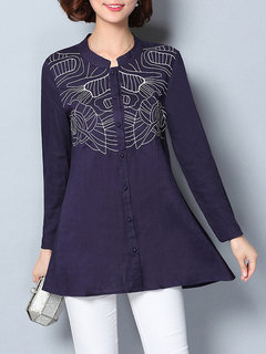 Casual Embroidery O-Neck Long Sleeve Button Shirt For Women