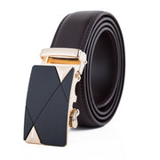 Second Floor Cowhide Geometric Pattern Automatic Buckle Belt Business Leisure Waistband