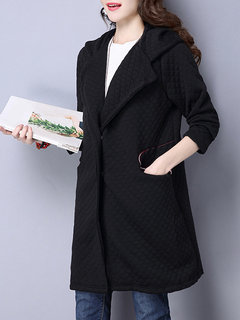 Casual Black Long Sleeve Hooded Button Coat For Women