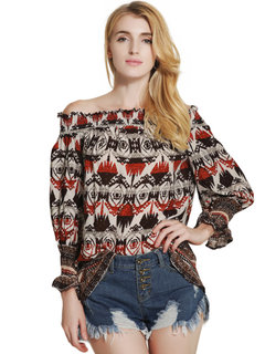 Lztlylzt Women Casual Off-shoulder Floral Print Lace-up Long Sleeve Tops