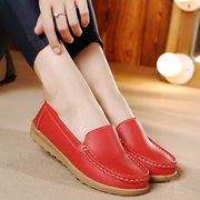 Cotton Warm Leather Slip On Pure Color Soft Spring Flat Loafers