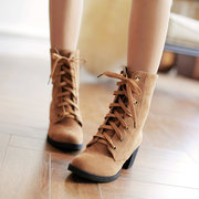 Big Size Pure Color Ankle Lace Up Square Heel Knight Boots