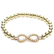 Cross Love Infinity Crystal Stretch Bead Bracelet