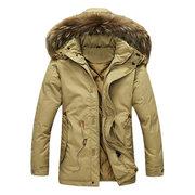 Winter Casual Outdoor Windproof Thicken Warm Slim Detachable Hood Coat for Men