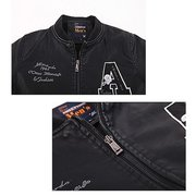 Men's Winter Fall Fashion Baseball Jacket PU Leather Stand Collar Lined Coat