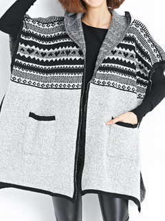 Women Causal Loose Batwing Sleeve Hooded Patchwork Knit Cardigan