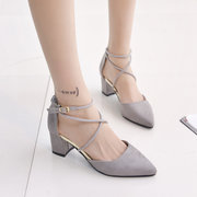 Ladies Thick-Heeled Shoes Sexy Pointed Toe Flat Shoes Shallow Mouth Buckle Shoes