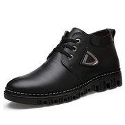 Мужчины Кожа Бизнес Удобные согрейтесь Узелок Повседневная обувь